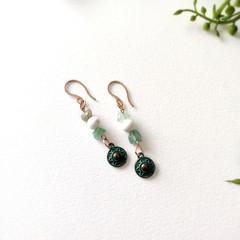 Stainless Steel Boho Jewerly Handmade Green Jade Magnesite Statement Earrings