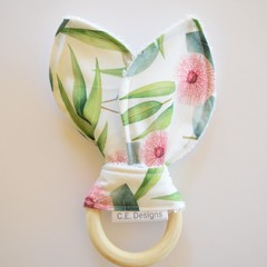Wooden baby teether rings - native florals