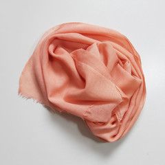 Wool Scarf Fringe Small Madder Pink