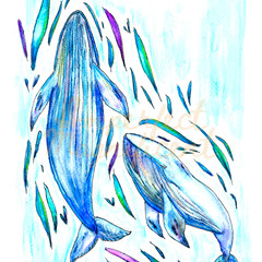 Watercolour Digital Version 'Blue Whale Love' Instant Download Print