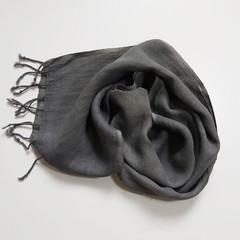 Linen Grey Scarf Fringe