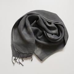 Linen Grey Tie Dye Scarf Fringe