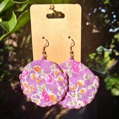 Round Purple Flower Earrings