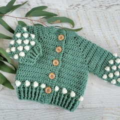 Slate Green Hand Crocheted Baby Bobble Cardigan  0-3 months