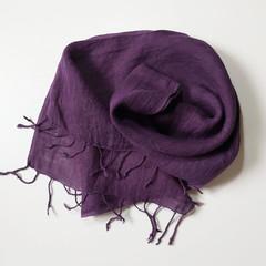 Linen Purple Scarf Fringe