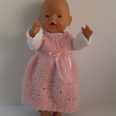 Baby Born doll clothes knitted top and pinafore dress