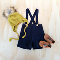 Boys Navy Blue Linen Page Boy Outfit, Toddler Suspender Shorts, Ring Bearer Suit