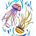 Watercolour Digital Version 'Jellyfish Dance' Instant Download Print