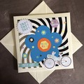 Ivory Pearlised Birthday Card with Large Blue Flower and Bike