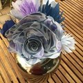 Bunch of large and small handcrafted paper flowers