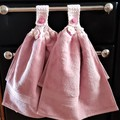 Set x 2 Pink Crochet Top Hand Towels Quality Soft Thick Cotton