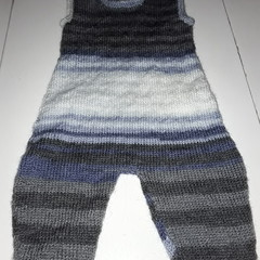Babies 6-9month old Knitted Romper  Stripes Blue Grey Mix