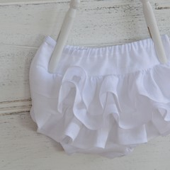 Linen ruffle bloomers / girls frilly nappy covers white linen