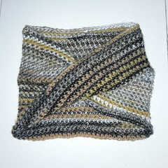Hand Crochet Winter Mobius Cowl in Charcial Beige White coloured Stripes