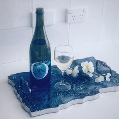 Decorative Resin Tray | Geode Serving Platter | Resin Agate Serving Tray