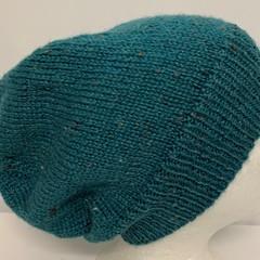 Unisex adult hand knit Slouchy-beanie Australian Tweed Wool 3/3