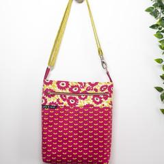 Cerise and Lime  Flower Cross Body Tote/ Handbag