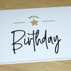 Happy Birthday card  - gold star