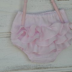 Pink linen ruffle bloomers /  baby and toddler frilly nappy covers - linen