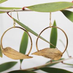 Eternal Leaf Hoop Earrings
