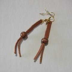 Lambert - Leather & bead eardrop