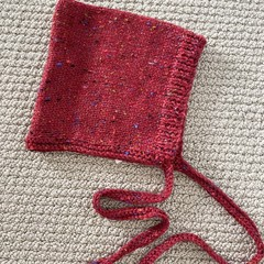CLEARANCE 50% off Red Pixie Hat - Size 1-2 years - Hand knitted  in pure wool