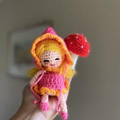 Little Fairy doll & Toadstool Crochet toys