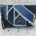 Women's clutch - Recycled Repurposed Denim Jean Clutch-  Frayed Patching