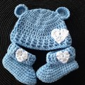 Baby boys crochet bear hat and matching booties Size Newborn - 3 months