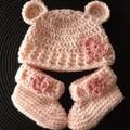 Baby girls crochet bear hat and matching booties Size Newborn - 3 months