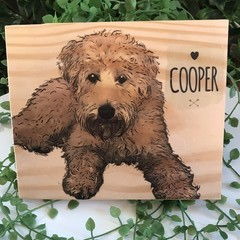 Custom Pet Art on Wood - Dog Cartoon Art
