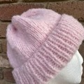 Pink knitted wool beanie with PomPom or without