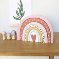 Large hand painted wooden  rainbow with heart centre. (pink)