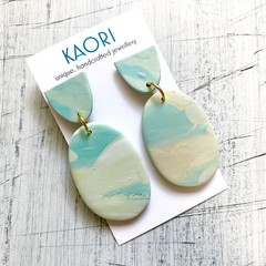Polymer clay earrings, statement earrings in marbled blue and green