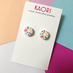 Polymer clay earrings, stud earrings in rainbow stitches