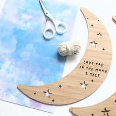 Hanging Moon Wall Art, Love You To The Moon And Back, Bamboo Decor, Baby Gift