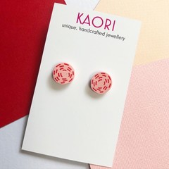 Polymer clay earrings, stud earrings in pinK and red stitches