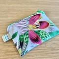 Coin Purse, small zipper pouch, botanical zipper pouch, medicine pouch, floral c