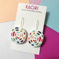 Polymer clay earrings, statement earrings in rainbow stitches