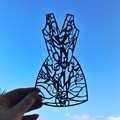 """Paper, Scissors, Frock 2"" woodcut (small size)"