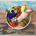 Felt food produce box, fruit, veggies, soft toy, gift box