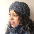Knit Headband & Cowl Set - Denim Blue