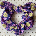 Large Navy blue &  lilac floral bunny ear bow - scrunchies - women - children