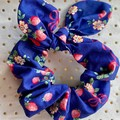 Large Blue strawberries bunny ear bow - scrunchies - women - children