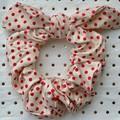 Large Beige & red polka dot bunny ear bow - scrunchies - women - children