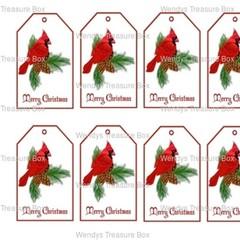Christmas Red Cardinal Bird 9 x Gift Tags - Digital Download