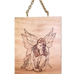 Hand Burnt Crouching Fairy Wall Hanging