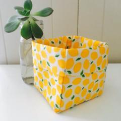 Lemon Fabric Mini Linen Fabric Basket.