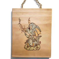 Toasty the Dragon Hand Burnt Wall Hanging