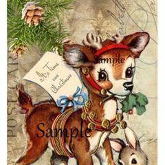 Christmas Reindeer Bunny 2 x Large Gift Tags  9.6cm x 16.8cm - Digital Download